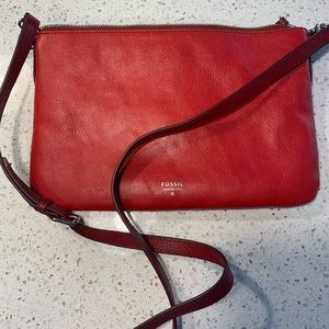 Red leather Fossil crossbody